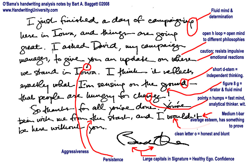 Barck Obamas handwriting sample with notes from Bart Baggett. Source of handwriting sapmle unknown