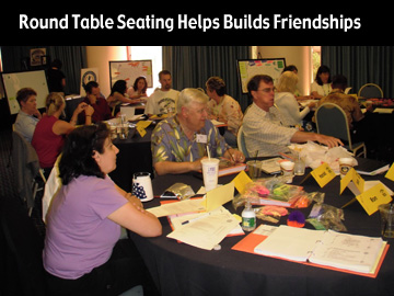 make friend at the conference round table.