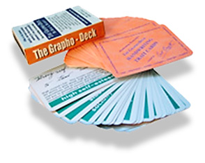 The paper cards called the Grapho-Deck shipped to your door.  Small, portable, durable.