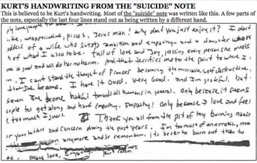 kurt cobain suicide letter kurt cobain s note analyzed handwriting 16408