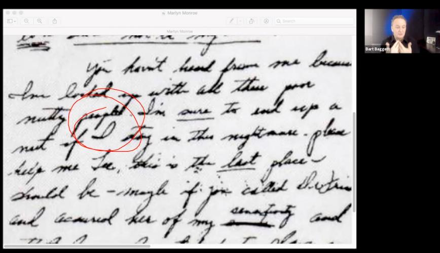 Marilyn Monroe Handwriting Analysis and JFK and the personal pronoun I