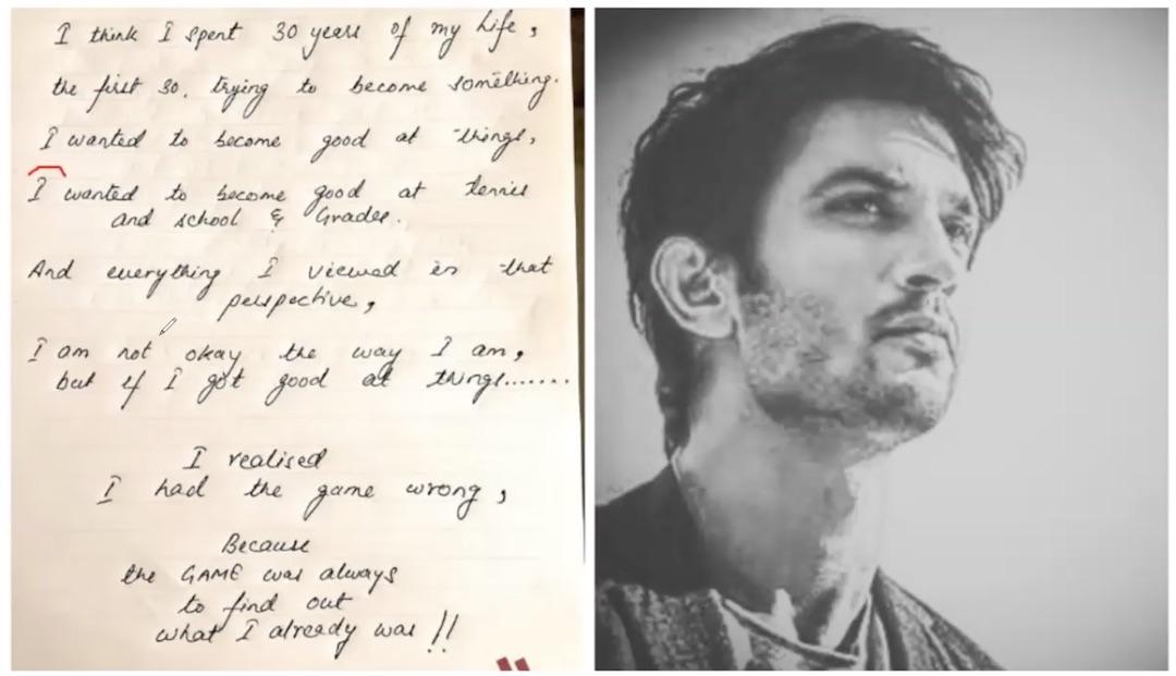 sushant suicide note