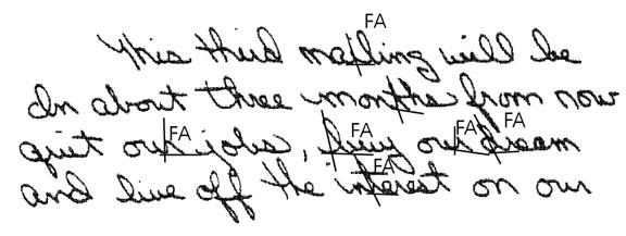 Handwriting slants to the left